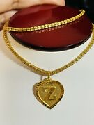 22k 916 Fine Yellow Gold Womenandrsquos Heart Z Necklace With 16andrdquo 2.5mm 14.7 Grams