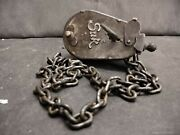 Old Vintage Rare Unique Shape Sur Iron German Padlock With Chain And Key