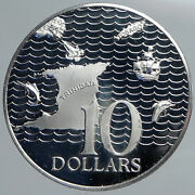 1973 Trinidad And Tobago Islands Large Vintage Old Proof Silver 10 Coin I90481