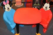 Vintage Syroco Disney Mickey Minnie Mouse Kid Child Chairs Table 1970and039s Htf Euc