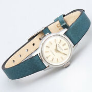 Wristwatch Round Case Dolphin Hand Non-date Used Women's Cal.44 Blue Silver