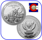 2021 Congo Wooly Mammoth 1 Oz Silver Coin - Prehistoric Life Series