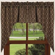 New Primitive Colonial Coverlet Tan Black Loverand039s Knot Cafe Swags Curtains 36