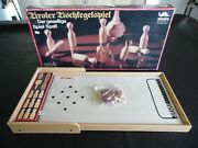 Vintage Mespi Table Bowling Game Made In Italy Complete 9 Pins Spinning Top Legs