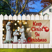 Vinyl Banner Sign Keep Christ In Christmas Business Style U Outdoor Brown