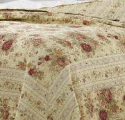 New Cozy Cottage Chic Shabby Pink Red Green Blue Yellow Rose Leaf Quilt Set