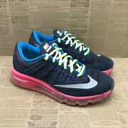 Nike Girls Air Max 2016 807237-006 Black Running Shoes Lace Up Low Top Size 5y