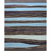12and0394x15and039 Oversize Hand Woven Brown Mountain Design Flat Weave Kilim Rug G60043