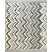 12and0394x15and039 Taupe Hand Woven Geometric Zigzag Design Flat Weave Kilim Rug G60060