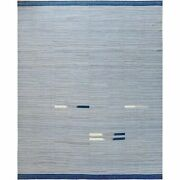 12and0391x15and039 Hand Woven Flat Weave Kilim Pure Nomadic Stripe Design Wool Rug G60107