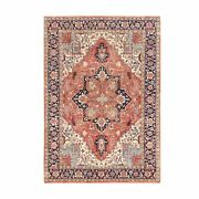 4'10x7'2 Red Antiqued Heris Recreation Organic Wool Hand Knotted Rug G62393