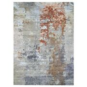 9and039x12and0393 Farsian Knot Gray Wool And Silk Denser Weave Hand Knotted Rug G66442