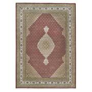 9and0399x14and0391 Hand Knotted Red Tebraz Mahi Fish Design Wool And Silk Rug G62629