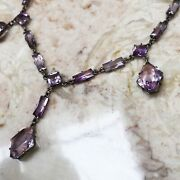 Antique Victorian Sterling Silver Amethyst Riviere Necklace