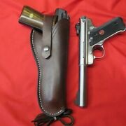 Western Style Leather Holster For Browning Buckmark And Ruger Mark Iii Line Tooled