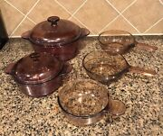 Vintage Corning Vision Pyrex Glass Cookware7 Piece Amber Cranberry 1156 1174