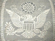 Rare Antique Mary Card Design Usa Patriotic And039great Sealand039 Lge Panel Hand Crochet