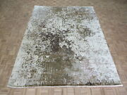 9and0391 X 11and0399 Hand Knotted Brown Gray Modern Abstract Oriental Rug With Silk G9140