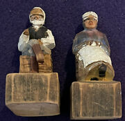 Vintage Folk Art Woodcarvings R. Audet - Hand Crafted - Man And Woman Set