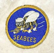 Wwii Usn Navy Seabees Seabee Cb Patch Gold Ring And Gold Letters Rare
