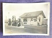 Old Antique 1940's - 1950's Mobile Gas Station Automobile Photo Mobilgas
