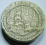 Antique Spanish Brass Counterweight For 8 Reales Old 1600's Scale Weight Coin