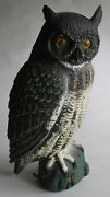 Large Vintage Carry-lite Painted Plastic Owl Decoy 20 Tall Mfd In Italy