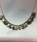 Meandro 10k Gold And Light Blue Sapphire Discs Sparkle On 16andrdquo Gold Chain