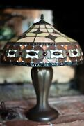 Vintage Style Table Lamp Dark Metal Stained Stand 20 H 16 W Dome