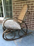 Mid-century Bentwood And Webbing Rocking Chair By Thonet 1930' S Vintage Rare