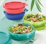 Tupperware Impressions Microwave Reheatable Cereal Bowls With Seals Set Of 4 New