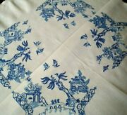 Fabulous Blue Willow Vintage Hand Embroidered Tablecloth
