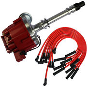 Sbc Bbc 305 350 454 V8's Hei Distributor And 10.5 Mm Red 90 Degree Spark Plug Wire