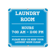 Square Metal Sign Multiple Sizes Laundry Hours 700 Am 1100 Pm Keep Clean B