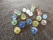 Vintage Rare Collectable Speckled Mica Marbles Blue Yellow Green Red Rare Mint