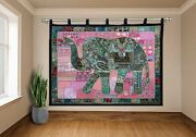 Vintage Large Curtain Elephant Wall Hanging Cotton Embroidery Patchwork Tapestry