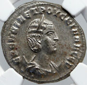 Herennia Etruscilla Ancient 250ad Old Silver Roman Coin Eagle And Palm Ngc I87719