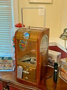 1950and039s Victor Gumball Vending Machine Super V - 5 Cent Coin Mechanism