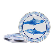 Fish Camp 8 In. Enamelware Round Sandwich Plates Set Of 4