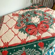 Vintage Christmas Wreath Tapestry Throw Blanket Holiday Home Decor