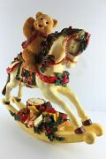 Christmas Teddy Bear Riding Vintage Style Rocking Horse W/ribbons Holly And Toys