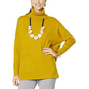 Marla Wynne Comfy Everywhere Green Gold Turtleneck Sweater Womenand039s Size Small