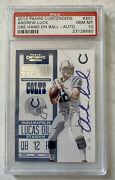 Andrew Luck 2012 Panini Contenders Auto Rookie Psa 10 Gem Mint 1 Hand On Ball