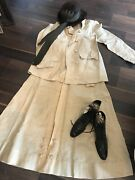 Antique Victorian Era Womenandrsquos Jacket Skirt Boots And Buffalo Hat Gloves Lot Of 5