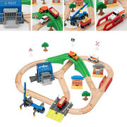 Kids Wooden Train Track Rail Train Car Toy Set Road Toys For 3+ Years Old