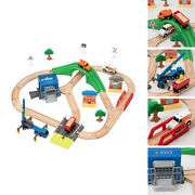 Wooden Train Track Rail Toy Set Road Toys For 2 3 4 5 Years Old And Up