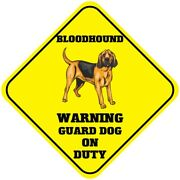 Yellow Aluminum Crossing Sign Bloodhound Warning Guard Dog On Duty Cross Xing