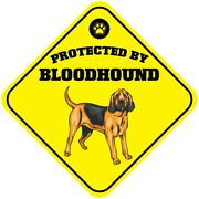 Yellow Aluminum Crossing Sign Protected By Bloodhound Dog Cross Xing