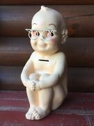 Vintage Kewpie Doll With Glasses Chalkware Still Coin Bank A N Brooks 1966