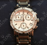 Bulova Womens Watch W/ Silver Dial, Glitz Crystals, Stainless Steel Link Band